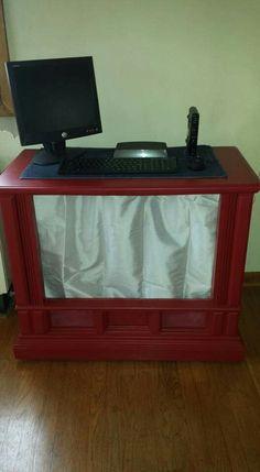 TV Console turned PC Desk