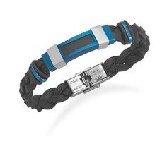 Black Leather Bracelet with Polished and Blue Matte Stainless Steel Accents