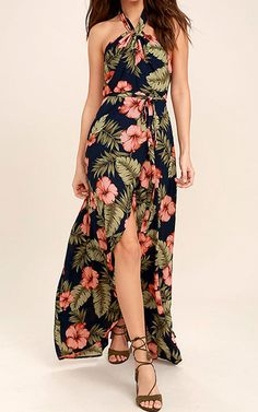 Now this is a Lulus Exclusive we can stand behind! The Splendorous Navy Blue Floral Print Halter Wrap Dress is what a girl wants and what a girl needs. The navy blue color looks great under the vibrant floral print offering a cute display of beauty for the summer time. The halter neckline is adorable and …