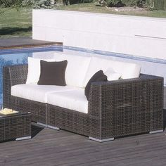Hospitality Rattan Soho 2 Piece Deep Seating Group with Cushions Umbrella Fabric: Canvas Taupe