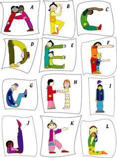 Des cartes pour faire l'alphabet avec son corps... Pourquoi ne pas demander aux enfants de réaliser les postures. On prend une photo, puis on assemble le tout pour réaliser un abécédaire!
