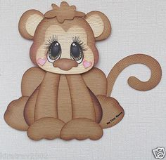 PREMADE PAPER PIECING ANIMAL MONKEY ZOO BY MY TEAR BEARS KIRA