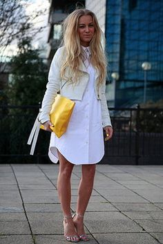 Street Style: London. Photo by Anthea Simms Put a belt on the shirt instead of the jacket, you're channeling Christie Brinkley via National Lampoon's Vacation 1983!