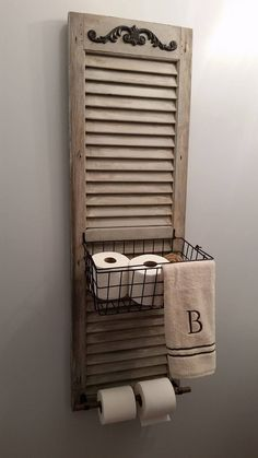 34 Ways Decorating with Old Shutters Can Make Your Home Charming Window Shutter Toilet Paper Holder Repurposed Furniture, Repurposed Headboard, Diy Furniture, Home Diy, Repurposed Decor, Shutters Repurposed Decor, Toilet Paper, Bathroom Decor, Shutters