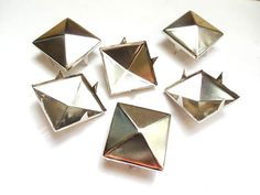 10 Silver Pyramid Square Studs  18mm by TreeChild1 on Etsy