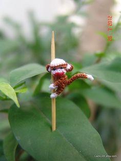 1/2  inch micro crochet baby sock monkey by LamLinh.