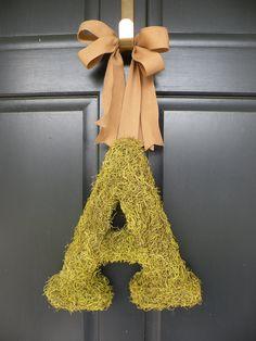 Moss Monogram Initial Wreath by Daulhouseshop on Etsy