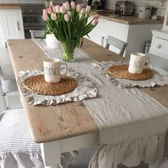 Slip covers, table rubber & placemats from Oscar & French Farmhouse Dining Room Table, Farmhouse Decor, Cozy Kitchen, Dining Room Inspiration, French Country Decorating, Vintage Table, Dining Room Design, Table Linens, Table Settings