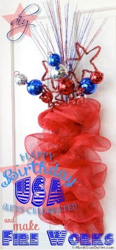Patriotic Deco Mesh Firecracker with Tinsel Stars: A Work Rail Tutorial Patriotic Wreath, Patriotic Crafts, 4th Of July Wreath, Patriotic Party, Wreath Crafts, Diy Crafts, Wreath Ideas, Happy Fourth Of July, July 4th