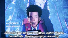 In Spiderman: Into the Spiderverse Miles stands in front of the scientists last name making it a surprise later that her last name is Octavius and she is this universes Doc Oc. Miles Spiderman, Spiderman 2002, Comic Movies, Good Movies, Obscure Facts, Recent Movies, Miles Morales, Anime Girl Drawings, Spider Verse