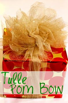 How to make a Tulle Pom Bow by Miss Lovie, Christmas, gift wrap idea, wrapping presents, www.missloviecrea...