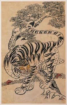 Tiger and Magpie. Tiger-and-magpie paintings were a popular motif in the century. They were often affixed to the front door of the house at the New Year to ward off evil spirits. This is from Korea. Japanese Tiger, Japanese Art, Korean Art, Asian Art, Korean Traditional, Traditional Art, Tiger Art, Tiger Tiger, Most Endangered Animals