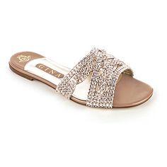 www.gina.com, GINA Nour Swarovski-embellished sandals (Beige comb)