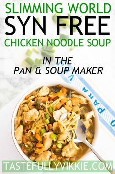 Slimming World Chicken Noodle Soup – Syn Free: This Slimming World chicken noodle soup recipe is not only irresistible, it's syn free and pan or soup maker friendly. I absolutely love this chicken noodle soup. It's so delicious, but there's always been a Slimming World Noodles, Slimming World Soup Recipes, Slimming World Diet, Paleo Chicken Nuggets, Tzatziki Sauce, Chicken Noodle Soup, Chicken Alfredo, Slow Cooker, Easy Cooking