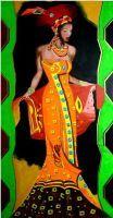 """"""" African Lady 1 """" Acryl 50 x 100 cm"""