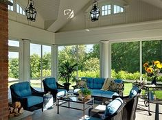 A screened in porch has the feel of the outdoors without the bugs. Good for warm sunny days or cool summer nights.