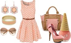 """Peach pink dress with smily face bag"" by shoalehniavarani on Polyvore"