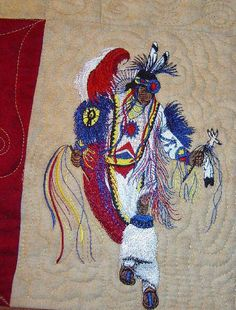 Free American Indian Quilt Designs | Intertribal Dance Quilt, Embroidery Detail