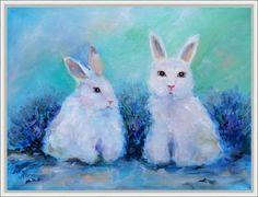 Лавандовые кролики. Олеся Лопатина. Холст 30*40 см, масло.