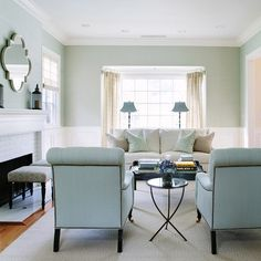 White and blue living room Features upper walls with light blue grasscloth wallpaper and lower walls clad in wainscoting. Waterleaf Interiors.  Interior Design Ideas