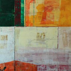 """""""Untitled No. 91,"""" orange and green abstract painting by artist Tim Hallinan available at Saatchi Art 
