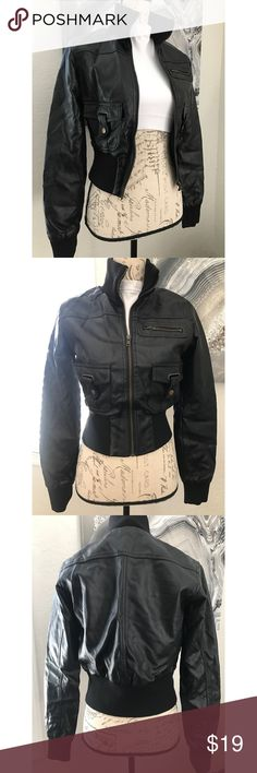 NWOT motorcycle bomber jacket S Faux leather bomber jacket . Not looking at all high-quality jacket that resembles real leather  I only buy the good stuff small. Nice and fit it cute with that job for tank in jeans don't forget to accessorize 😘 Jackets & Coats Utility Jackets