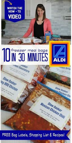 10 Freezer Meal Bags in 30 Minutes! Great tips and tricks for Freezer Cooking! Find More Freezer Meals Here --> http://www.passionforsavings.com/freezer-meals/ #passion4savings #dinner #freezermeals #meals #recipes #budget #family #meal #plans
