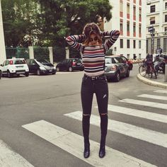MFW Spring 2016 Recap street style inspo stripe jumper high waisted ripped distressed jeans ankle boots chic casual