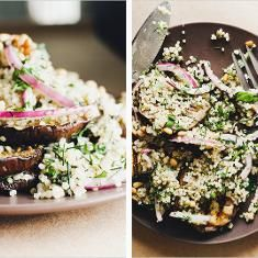 Grilled Eggplant With Herbed Quinoa (via www.foodily.com/r/Du5fzjC4V-grilled-eggplant-with-herbed-quinoa)