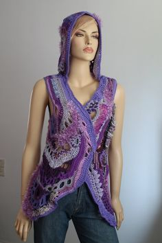 Chic Boho Hippie Lilac Purple Chunky Freeform by levintovich Crochet Coat, Crochet Jacket, Crochet Clothes, Freeform Crochet, Irish Crochet, Free Crochet, Hippie Chic, Boho Chic, Knitting Yarn