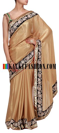 Buy it now  http://www.kalkifashion.com/gold-foil-saree-with-embroidered-border.html  Gold foil saree with embroidered border