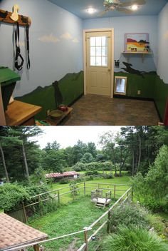 Dog room with an attached dog yard. This is exactly my dream for my pups – I wan… – Cadie Timmins – pet resort Animal Room, Dog Friendly Garden, Dog Bedroom, Dog Spaces, Dog Yard, Pet Hotel, Dog Rooms, Dog Play Room, Pet Resort