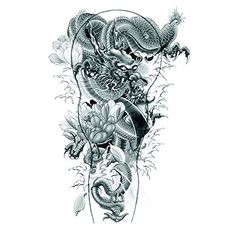 """Halloween Tattoo for adults black and white dragon with flowers realistic and nontoxic fake tattoo stickers. Tattoo size : 8.66""""""""*4.72"""""""". High quality Temporary Tattoos are very realistic & look exactly like real tattoos on the skin. Certification:F.D.A, EM/N71, ASTM. Quick and easy to apply,safe and Non-Tox. Not for children under 3years.Temporary Tattoos are not recommended for use on sensitive skin and are not returnable. Will apply to almost any surface: clothing, mirrors, cups…"""