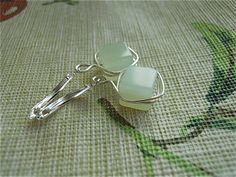 Square Jade Earringssilver wire wrapped Jade by JoJosgems on Etsy, $14.00