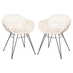 Make a retro statement with the Safavieh Jadis Leather Dining Arm Chair - Set of 2 . Perfect as accent chairs or around a dining room table, this. White Dining Chairs, Solid Wood Dining Chairs, Dining Arm Chair, Dining Room Chairs, Side Chairs, Accent Chairs, Eames Chairs, Dining Rooms, Leather Weaving