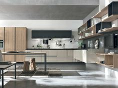 Alieve in light oak and glossy lacquer. Made in Italy by Stosa Cucine. Available through www.eurolife.com.au
