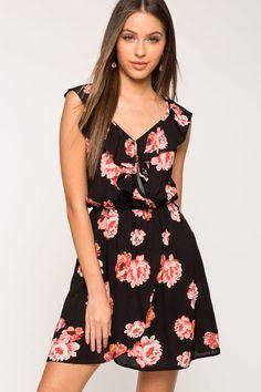 Christie Ruffle Surplice Floral Dress