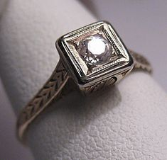 Antique Diamond Wedding Ring Vintage Art Deco Gold 14K via Etsy