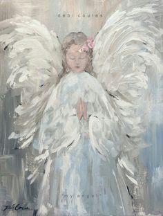 My Angel Original Canvas Print by Debi Coules - Debi Coules Romantic Art Christmas Angels, Christmas Art, Angel Artwork, Canvas Art, Canvas Prints, Canvas Paper, Angel Crafts, Angel Pictures, Angel Images