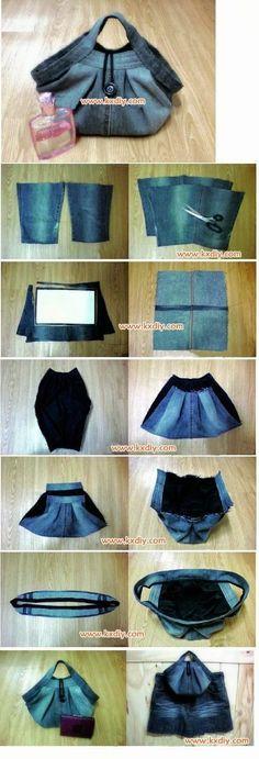 Recicla Inventa: Cómo hacer un bolso con un pantalón vaquero - Tutorial