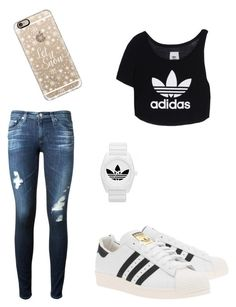 """Adidas style"" by sara-bandiera on Polyvore featuring adidas Originals, AG Adriano Goldschmied, Casetify and adidas"