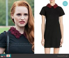 Cheryl's black short sleeve dress with red floral collar on Riverdale. Outfit Details: https://wornontv.net/66056/ #Riverdale