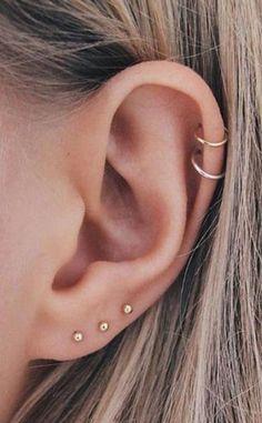 Minimalist Cartilage Ear Piercing Ideas for Women - Mini Ear Piercing . - Minimalist Cartilage Ear Piercing Ideas for Women – Mini Ear Piercing … – - Pretty Ear Piercings, Ear Piercings Chart, Ear Peircings, Types Of Ear Piercings, Piercing Chart, Multiple Ear Piercings, Different Ear Piercings, Unique Piercings, Helix Earrings