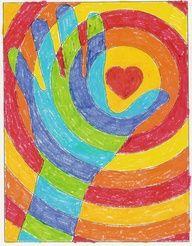 valentine art project - warm/cool colors