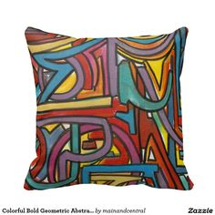 Colorful Bold Geometric Abstract Modern Art -Throw Pillow with Hand Painted Brushstrokes in Bold Vivid Colors