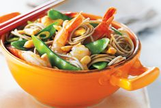 Shrimp, Snow Pea and Cashew Stir-Fry—This quick stir-fry is a healthy option for an easy and delicious weeknight meal. For a bit of a kick, add tsp hot pepper flakes to your wok along with the ginger and garlic. Stir Fry Recipes, Fish Recipes, Lunch Recipes, Seafood Recipes, Asian Recipes, Chicken Recipes, Dinner Recipes, Healthy Recipes, Chinese Recipes