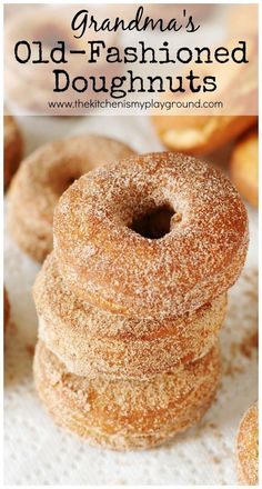 Grandma's Old-Fashioned Doughnuts {or Donuts?} Whether you spell it doughnuts or donuts, Grandma's Old-Fashioned Doughnuts are the BEST! Serve up these cakey beauties plain or coated a… Easy Donut Recipe, Baked Donut Recipes, Baking Recipes, Fried Dough Recipe Without Yeast, Donuts Recipe No Yeast, Best Homemade Doughnut Recipe, Yeast Donuts, Homemade Donuts, Homemade Breads