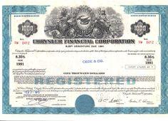CHRYSLER CORP. $1,000 8.35 %  Debenture certificate