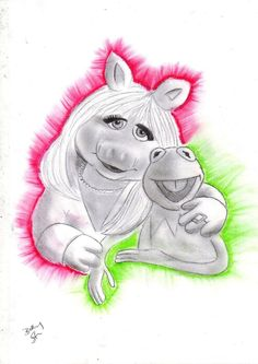 Miss Piggy and Kermit by ~Bee-Minor on deviantART Kermit And Miss Piggy, Kermit The Frog, Anniversary Tattoo, Gothic Fantasy Art, The Muppet Show, Muppet Babies, Opposites Attract, Jim Henson, Disney Drawings