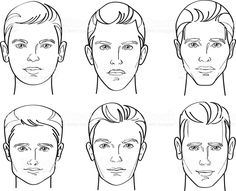 Sketch Face Men Face Shape Line Drawing Illustration royalty-free stock vector art - Line Drawing Illustratio of Six Different Types of Male Face Shapes Drawing Face Shapes, Male Face Shapes, Male Face Drawing, Face Sketch, Guy Drawing, Fashion Illustration Face, Mouse Illustration, Illustration Sketches, Free Vector Graphics